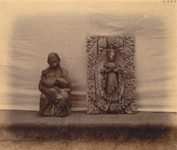 Carved wooden images (originally Christian), from the Renukadevi Temple, Chandor.